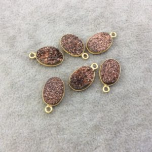 Shop Agate Pendants! Gold Electroplated Natural Peach / brown Titanium Druzy Agate Oval Shaped Bezel Pendant – Measuring 10mm X 15mm, Approx. – Individual, Random   Natural genuine Agate pendants. Buy crystal jewelry, handmade handcrafted artisan jewelry for women.  Unique handmade gift ideas. #jewelry #beadedpendants #beadedjewelry #gift #shopping #handmadejewelry #fashion #style #product #pendants #affiliate #ad