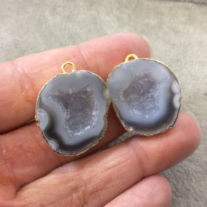 Shop Agate Pendants! Pair Of Ooak Gold Electroplated Natural Druzy Agate Geode Half Freeform Shaped Pendants – Measuring 24mm X 26mm – Unique, As Pictured   Natural genuine Agate pendants. Buy crystal jewelry, handmade handcrafted artisan jewelry for women.  Unique handmade gift ideas. #jewelry #beadedpendants #beadedjewelry #gift #shopping #handmadejewelry #fashion #style #product #pendants #affiliate #ad