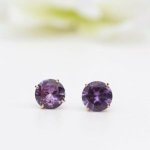 Shop Alexandrite Earrings! Big 8mm Alexandrite Earrings Gold – 9ct Yell Gold 8mm Round Lab Grown Alexandrite Stud Earrings – Large Alexandrite June  Earrings – C49 | Natural genuine Alexandrite earrings. Buy crystal jewelry, handmade handcrafted artisan jewelry for women.  Unique handmade gift ideas. #jewelry #beadedearrings #beadedjewelry #gift #shopping #handmadejewelry #fashion #style #product #earrings #affiliate #ad