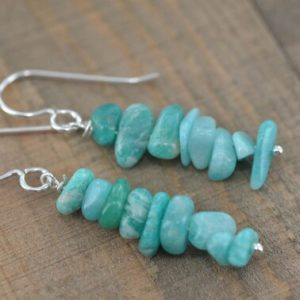 Shop Amazonite Earrings! Amazonite Dangle Earrings, Light Blue Gemstones, Silver Jewelry, Gifts for Her, Simple Boho Earrings, Birthday Gifts | Natural genuine Amazonite earrings. Buy crystal jewelry, handmade handcrafted artisan jewelry for women.  Unique handmade gift ideas. #jewelry #beadedearrings #beadedjewelry #gift #shopping #handmadejewelry #fashion #style #product #earrings #affiliate #ad
