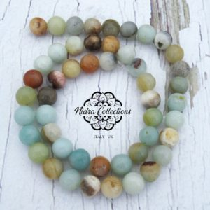 Shop Amazonite Necklaces! Multicoloured Amazonite Gemstone Beads, Loose polished Stone 8mm, Diy Beads, Mala jewelry supplies, Full strand | Natural genuine Amazonite necklaces. Buy crystal jewelry, handmade handcrafted artisan jewelry for women.  Unique handmade gift ideas. #jewelry #beadednecklaces #beadedjewelry #gift #shopping #handmadejewelry #fashion #style #product #necklaces #affiliate #ad