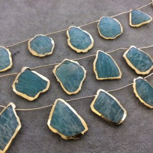 """Shop Amazonite Bead Shapes! Gold Electroplated Smooth Freeform Slab Shaped Natural Amazonite Top-Drilled Beads – 9.5"""" Strand (9 Beads) – Measures 20mm x 25mm, Approx. 