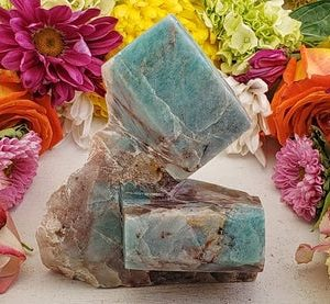 Shop Raw & Rough Amazonite Stones! Amazonite Natural Gemstone Cluster | Natural genuine stones & crystals in various shapes & sizes. Buy raw cut, tumbled, or polished gemstones for making jewelry or crystal healing energy vibration raising reiki stones. #crystals #gemstones #crystalhealing #crystalsandgemstones #energyhealing #affiliate #ad