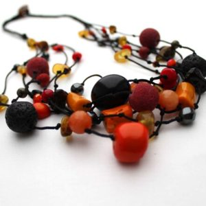 Black Orange Necklace Multi Strand Hot Fire Gemstone Jewelry Raw Amber Red Coral Black Lava Stone Warm Colors Boho | Natural genuine Gemstone necklaces. Buy crystal jewelry, handmade handcrafted artisan jewelry for women.  Unique handmade gift ideas. #jewelry #beadednecklaces #beadedjewelry #gift #shopping #handmadejewelry #fashion #style #product #necklaces #affiliate #ad