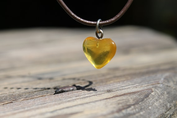 Genuine Amber Heart  Pendant  Necklace Honey Orange Amber Love Charm Hand Sculpted Birthday Mother's Day Gift  Jewelry