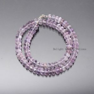 Shop Amethyst Necklaces! Natural Pink Amethyst Beaded Necklace, 8.5-9mm Faceted Roundel Semi Precious Beads Necklace, Amethyst Jewelry, Mineral Crystal Beads Jewelry | Natural genuine Amethyst necklaces. Buy crystal jewelry, handmade handcrafted artisan jewelry for women.  Unique handmade gift ideas. #jewelry #beadednecklaces #beadedjewelry #gift #shopping #handmadejewelry #fashion #style #product #necklaces #affiliate #ad
