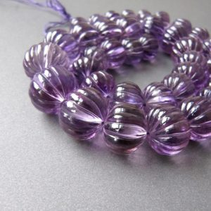 Shop Rondelle Gemstone Beads! Amethyst carved pumpkin rondelles • 11.50-16.25mm • AAA polished hand carving • Light purple • Natural African • Large focal beads • WOW! | Natural genuine rondelle Gemstone beads for beading and jewelry making.  #jewelry #beads #beadedjewelry #diyjewelry #jewelrymaking #beadstore #beading #affiliate #ad