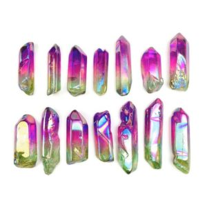 Shop Angel Aura Quartz Stones & Crystals! Aura Crystal Point (1) Green Pink Angel Aura Quartz Rainbow Small Medium Wand One Piece | Natural genuine stones & crystals in various shapes & sizes. Buy raw cut, tumbled, or polished gemstones for making jewelry or crystal healing energy vibration raising reiki stones. #crystals #gemstones #crystalhealing #crystalsandgemstones #energyhealing #affiliate #ad