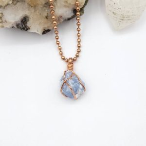 Shop Angelite Pendants! Angelite Necklace, Blue Anhydrite, Copper Wire Wrapped Angelite Pendant, Crystal Necklace | Natural genuine Angelite pendants. Buy crystal jewelry, handmade handcrafted artisan jewelry for women.  Unique handmade gift ideas. #jewelry #beadedpendants #beadedjewelry #gift #shopping #handmadejewelry #fashion #style #product #pendants #affiliate #ad
