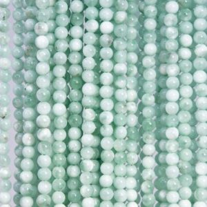 Shop Angelite Beads! 84 / 42 Pcs – 4MM Green Angelite Beads Grade AAA Genuine Natural Round Gemstone Loose Beads (112952) | Natural genuine round Angelite beads for beading and jewelry making.  #jewelry #beads #beadedjewelry #diyjewelry #jewelrymaking #beadstore #beading #affiliate #ad
