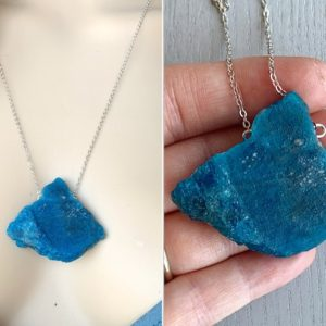 Shop Apatite Necklaces! Raw Apatite Necklace, Apatite Crystal Necklace, Blue Stone Necklace Silver, Chakra Necklace, Real Apatite Jewelry, Rough Stone ACTUAL STONE | Natural genuine Apatite necklaces. Buy crystal jewelry, handmade handcrafted artisan jewelry for women.  Unique handmade gift ideas. #jewelry #beadednecklaces #beadedjewelry #gift #shopping #handmadejewelry #fashion #style #product #necklaces #affiliate #ad
