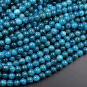 """AA Natural Teal Blue Apatite 4mm 6mm 8mm 10mm Round Beads Polished Teal Gemstone Beads 15.5"""" Strand 
