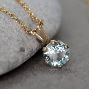 Shop Aquamarine Pendants! Faceted Blue Aquamarine Necklace, March Birthstone Necklace, Minimalist Aquamarine Pendant, Gold Pale Blue Stone Necklace, Gift for Her   Natural genuine Aquamarine pendants. Buy crystal jewelry, handmade handcrafted artisan jewelry for women.  Unique handmade gift ideas. #jewelry #beadedpendants #beadedjewelry #gift #shopping #handmadejewelry #fashion #style #product #pendants #affiliate #ad