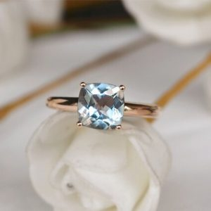 Solid 14K Gold Aquamarine Engagement/Cushion Cut Aquamarine Promise Ring/Light Blue Anniversary Ring | Natural genuine Gemstone rings, simple unique handcrafted gemstone rings. #rings #jewelry #shopping #gift #handmade #fashion #style #affiliate #ad