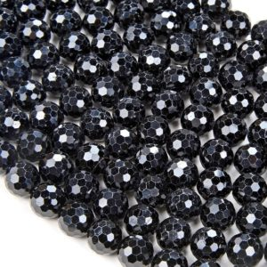Shop Black Tourmaline Faceted Beads! Natural Black Tourmaline Gemstone Grade AA Micro Faceted Round 8MM 10MM Loose Beads BULK LOT 1,2,6,12 and 50 (D41) | Natural genuine faceted Black Tourmaline beads for beading and jewelry making.  #jewelry #beads #beadedjewelry #diyjewelry #jewelrymaking #beadstore #beading #affiliate #ad