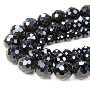 Shop Black Tourmaline Faceted Beads! Natural Black Tourmaline Gemstone Grade AA Micro Faceted Round 8MM 10MM Loose Beads (D41) | Natural genuine faceted Black Tourmaline beads for beading and jewelry making.  #jewelry #beads #beadedjewelry #diyjewelry #jewelrymaking #beadstore #beading #affiliate #ad