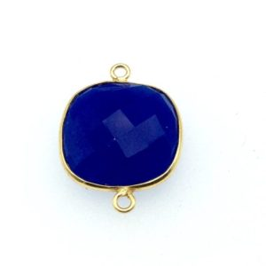 Shop Blue Chalcedony Beads! Cobalt Blue Chalcedony Bezel | Gold Finish Faceted Square Shaped Pendant Component – Measuring 18mm x 18mm – Natural Gemstone | Natural genuine faceted Blue Chalcedony beads for beading and jewelry making.  #jewelry #beads #beadedjewelry #diyjewelry #jewelrymaking #beadstore #beading #affiliate #ad