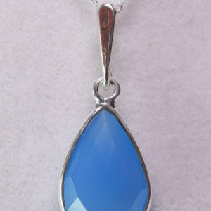 Shop Blue Chalcedony Pendants! Blue Chalcedony Pendant, Genuine Gemstone 15 by 10 mm Checkerboard Cut Pear Shaped, Set in 925 Sterling Silver Pendant 18inch Chain Included | Natural genuine Blue Chalcedony pendants. Buy crystal jewelry, handmade handcrafted artisan jewelry for women.  Unique handmade gift ideas. #jewelry #beadedpendants #beadedjewelry #gift #shopping #handmadejewelry #fashion #style #product #pendants #affiliate #ad