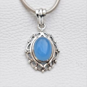 Natural Blue Chalcedony Pendant-Handmade Silver Pendant-925 Sterling Silver Pendant-Blue Oval Chalcedony Pendant-Sagittarius Birthstone | Natural genuine Blue Chalcedony pendants. Buy crystal jewelry, handmade handcrafted artisan jewelry for women.  Unique handmade gift ideas. #jewelry #beadedpendants #beadedjewelry #gift #shopping #handmadejewelry #fashion #style #product #pendants #affiliate #ad
