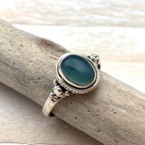 Shop Blue Chalcedony Rings! Blue Chalcedony Ring // Simple blue chalcedony Silver ring // Blue Chalcedony Oval Cabochon 6, 7, 7.5, 8, 9 // 925 Sterling Silver | Natural genuine Blue Chalcedony rings, simple unique handcrafted gemstone rings. #rings #jewelry #shopping #gift #handmade #fashion #style #affiliate #ad