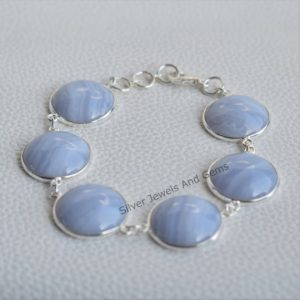 Shop Blue Lace Agate Bracelets! Natural Blue Lace Agate Bracelet, Handmade Silver Bracelet, 925 Sterling Silver Bracelet, Round Blue Lace Agate Bracelet, Gift for her | Natural genuine Blue Lace Agate bracelets. Buy crystal jewelry, handmade handcrafted artisan jewelry for women.  Unique handmade gift ideas. #jewelry #beadedbracelets #beadedjewelry #gift #shopping #handmadejewelry #fashion #style #product #bracelets #affiliate #ad