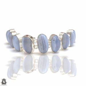Shop Blue Lace Agate Bracelets! Ocean Vibes! Namibian Blue Lace Agate Genuine Gemstone Bracelet B4329 | Natural genuine Blue Lace Agate bracelets. Buy crystal jewelry, handmade handcrafted artisan jewelry for women.  Unique handmade gift ideas. #jewelry #beadedbracelets #beadedjewelry #gift #shopping #handmadejewelry #fashion #style #product #bracelets #affiliate #ad