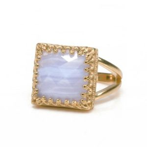 Shop Blue Lace Agate Rings! Stunning Blue Lace Agate Ring · 14k Rose Gold Ring · Square Cut Gemstone Ring · Solid Gold Semiprecious Ring · Birthday Gifts   Natural genuine Blue Lace Agate rings, simple unique handcrafted gemstone rings. #rings #jewelry #shopping #gift #handmade #fashion #style #affiliate #ad