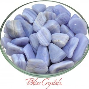 Shop Tumbled Blue Lace Agate Crystals & Pocket Stones! 1 Blue Lace Agate Tumbled Stone w/ Martix, Grade A, (3 Sizes – L, XL, Jumbo) for Peace of Mind #BL19 | Natural genuine stones & crystals in various shapes & sizes. Buy raw cut, tumbled, or polished gemstones for making jewelry or crystal healing energy vibration raising reiki stones. #crystals #gemstones #crystalhealing #crystalsandgemstones #energyhealing #affiliate #ad