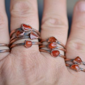 Raw Carnelian Ring, Electroformed Jewelry, Stacking Birthstone Ring, Boho Ring, Raw Stone Jewelry, Unique Gift for Her, Layering Ring | Natural genuine Gemstone rings, simple unique handcrafted gemstone rings. #rings #jewelry #shopping #gift #handmade #fashion #style #affiliate #ad
