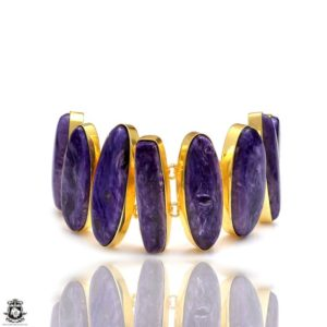 Shop Charoite Bracelets! AAA Grade Russian Charoite Gold Plated Bracelet GB113 | Natural genuine Charoite bracelets. Buy crystal jewelry, handmade handcrafted artisan jewelry for women.  Unique handmade gift ideas. #jewelry #beadedbracelets #beadedjewelry #gift #shopping #handmadejewelry #fashion #style #product #bracelets #affiliate #ad