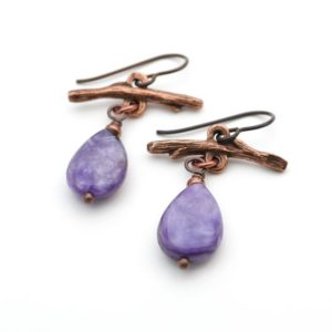 Shop Charoite Earrings! Copper twig earrings, branch, lavender charoite beads, 1 1/2 inches long   Natural genuine Charoite earrings. Buy crystal jewelry, handmade handcrafted artisan jewelry for women.  Unique handmade gift ideas. #jewelry #beadedearrings #beadedjewelry #gift #shopping #handmadejewelry #fashion #style #product #earrings #affiliate #ad