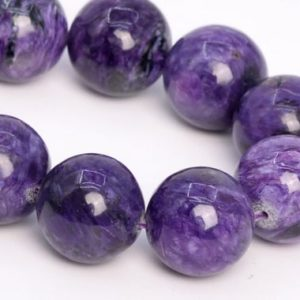 """Shop Charoite Round Beads! 15MM Deep Color Charoite Beads Russia Grade A+ Genuine Natural Gemstone Half Strand Round Loose Beads 7.5"""" Bulk Lot Options (108992h-2840) 