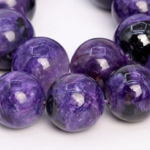 Shop Charoite Round Beads! 16 Pcs – 14MM Deep Color Charoite Beads Russia Grade A+ Genuine Natural Round Gemstone Loose Beads (108989) | Natural genuine round Charoite beads for beading and jewelry making.  #jewelry #beads #beadedjewelry #diyjewelry #jewelrymaking #beadstore #beading #affiliate #ad