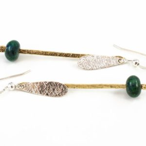 Shop Chrysocolla Earrings! Chrysocolla Earrings – Green Stone Jewelry – Sterling Earrings – Mixed Metal Dangle Earrings   Natural genuine Chrysocolla earrings. Buy crystal jewelry, handmade handcrafted artisan jewelry for women.  Unique handmade gift ideas. #jewelry #beadedearrings #beadedjewelry #gift #shopping #handmadejewelry #fashion #style #product #earrings #affiliate #ad