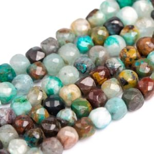 """Shop Chrysocolla Faceted Beads! 2x2MM Multicolor Chrysocolla Beads Faceted Cube Grade A Genuine Natural Gemstone Half Strand Loose Beads 15"""" Bulk Lot Options (117025-303)   Natural genuine faceted Chrysocolla beads for beading and jewelry making.  #jewelry #beads #beadedjewelry #diyjewelry #jewelrymaking #beadstore #beading #affiliate #ad"""