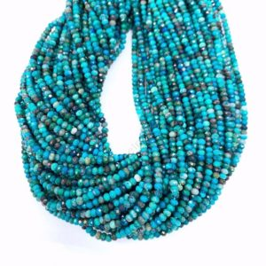 Shop Chrysocolla Faceted Beads! Tiny Chrysocolla Micro Faceted Rondelle Beads 3x2mm 4x3mm A Quality, Natural Chrysocolla Round Green Blue Gemstone Semi Precious Beads   Natural genuine faceted Chrysocolla beads for beading and jewelry making.  #jewelry #beads #beadedjewelry #diyjewelry #jewelrymaking #beadstore #beading #affiliate #ad