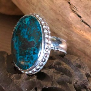 Shop Chrysocolla Rings! Chrysocolla Gemstone and Sterling Silver Ring, Greens, Deep Red and Aqua Blues – Size 6.75 – Handcrafted, Natural Gemstone Ring   Natural genuine Chrysocolla rings, simple unique handcrafted gemstone rings. #rings #jewelry #shopping #gift #handmade #fashion #style #affiliate #ad