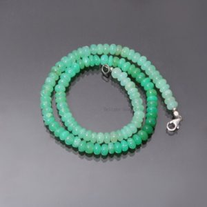 Shop Chrysoprase Necklaces! 100% Natural Mint Green Chrysoprase Beaded Necklace, 7mm Chrysoprase Smooth Rondelle Beads Necklace, Gemstone Beads Necklace, 16-24 Inch   Natural genuine Chrysoprase necklaces. Buy crystal jewelry, handmade handcrafted artisan jewelry for women.  Unique handmade gift ideas. #jewelry #beadednecklaces #beadedjewelry #gift #shopping #handmadejewelry #fashion #style #product #necklaces #affiliate #ad