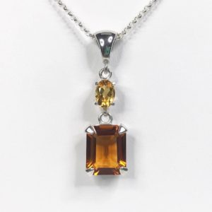 Shop Citrine Necklaces! Gorgeous 4ctw Honey Citrine & Golden Citrine Necklace Emerald Cut Trending Jewelry Gift Mom Wife sister November Birthstone Madeira Citrine   Natural genuine Citrine necklaces. Buy crystal jewelry, handmade handcrafted artisan jewelry for women.  Unique handmade gift ideas. #jewelry #beadednecklaces #beadedjewelry #gift #shopping #handmadejewelry #fashion #style #product #necklaces #affiliate #ad