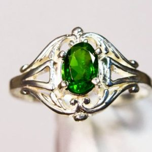 Shop Diopside Rings! Chrome Diopside Ring, Genuine Gemstone 6x4mm Oval .50ct, Set in 925 Sterling Silver Solitaire Scrolled Ring   Natural genuine Diopside rings, simple unique handcrafted gemstone rings. #rings #jewelry #shopping #gift #handmade #fashion #style #affiliate #ad
