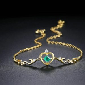 Shop Emerald Bracelets! 3mm 100% Natural Emerald 925 Sterling Silver Jewelry 14K Yellow Gold Plated Chain Charm Bracelet, Birthday Gift, Wedding Gift, Gift For Her   Natural genuine Emerald bracelets. Buy handcrafted artisan wedding jewelry.  Unique handmade bridal jewelry gift ideas. #jewelry #beadedbracelets #gift #crystaljewelry #shopping #handmadejewelry #wedding #bridal #bracelets #affiliate #ad