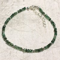 Bracelet 925 Sterling Silver And Stone – Faceted Rondelles 3mm Zambian Emerald | Natural genuine Gemstone jewelry. Buy crystal jewelry, handmade handcrafted artisan jewelry for women.  Unique handmade gift ideas. #jewelry #beadedjewelry #beadedjewelry #gift #shopping #handmadejewelry #fashion #style #product #jewelry #affiliate #ad