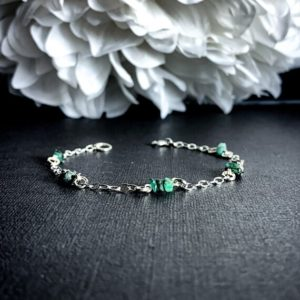 Shop Emerald Bracelets! Emerald Raw Heart Chakra Stone Bracelet Healing Crystal Anklet   Natural genuine Emerald bracelets. Buy crystal jewelry, handmade handcrafted artisan jewelry for women.  Unique handmade gift ideas. #jewelry #beadedbracelets #beadedjewelry #gift #shopping #handmadejewelry #fashion #style #product #bracelets #affiliate #ad