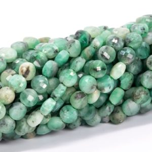 """Shop Emerald Faceted Beads! 4MM Emerald Beads Faceted Flat Round Button Grade AA Genuine Natural Gemstone Loose Beads 15"""" / 7.5"""" Bulk Lot Options (111699) 