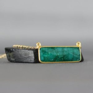 Shop Emerald Necklaces! Emerald and Gold Necklace – Green Gemstone Necklace – Bar Necklace Gold – May Birthstone   Natural genuine Emerald necklaces. Buy crystal jewelry, handmade handcrafted artisan jewelry for women.  Unique handmade gift ideas. #jewelry #beadednecklaces #beadedjewelry #gift #shopping #handmadejewelry #fashion #style #product #necklaces #affiliate #ad