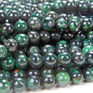 """Shop Emerald Round Beads! 6mm Emerald in Fuchsite Gemstone Genuine Natural Rare Green Grade Round Loose Beads 15.5"""" Full Strand (80006792-A210) 