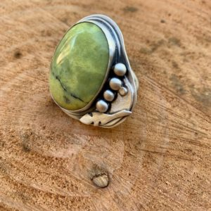 Shop Serpentine Rings! Feather Ring: Sterling Silver Ring, Bezel Set, Silversmith, Serpentine Ring, Statement Ring, Handmade, Nevada City, California | Natural genuine Serpentine rings, simple unique handcrafted gemstone rings. #rings #jewelry #shopping #gift #handmade #fashion #style #affiliate #ad