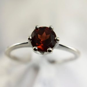 Shop Garnet Rings! Garnet Ring, Genuine Gemstone 6mm Round, Set in 925 Sterling Silver Solitaire Ring | Natural genuine Garnet rings, simple unique handcrafted gemstone rings. #rings #jewelry #shopping #gift #handmade #fashion #style #affiliate #ad