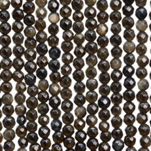 Shop Golden Obsidian Beads! 93 / 46 Pcs – 4MM Golden Obsidian Beads Grade AAA Genuine Natural Micro Faceted Round Gemstone Loose Beads (107266) | Natural genuine faceted Golden Obsidian beads for beading and jewelry making.  #jewelry #beads #beadedjewelry #diyjewelry #jewelrymaking #beadstore #beading #affiliate #ad