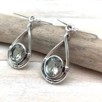 Green Amethyst Silver Earrings – Silver Loop Dangly Green Amethyst Earrings – Green Amethyst Simple Earrings – 925 Sterling Silver | Natural genuine Gemstone jewelry. Buy crystal jewelry, handmade handcrafted artisan jewelry for women.  Unique handmade gift ideas. #jewelry #beadedjewelry #beadedjewelry #gift #shopping #handmadejewelry #fashion #style #product #jewelry #affiliate #ad